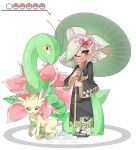 +_+ 1girl absurdres black_footwear black_kimono brown_eyes closed_mouth commentary company_connection domino_mask earrings food gen_2_pokemon gen_4_pokemon gradient_hair green_hair grey_hair hair_ornament highres holding holding_poke_ball holding_umbrella hotaru_(splatoon) japanese_clothes jewelry kimono leafeon long_sleeves looking_at_viewer mask medium_hair meganium mole mole_under_eye multicolored_hair oriental_umbrella pointy_ears poke_ball poke_ball_(generic) pokemon pokemon_(creature) print_kimono sandals simple_background smile solo splatoon_(series) standing sukeo_(nunswa08) sushi tabi tentacle_hair umbrella white_background white_legwear wide_sleeves