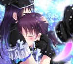 2girls black_gloves black_headwear blush closed_eyes crying eyebrows_visible_through_hair feathers fingerless_gloves gloves hands_on_another's_head hat highres hug kazuno_leah kazuno_sarah love_live! love_live!_sunshine!! multiple_girls peaked_cap purple_hair short_sleeves siblings sisters snowflakes tears twintails zero-theme