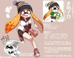 1girl blush eromame fangs hat inkling long_hair mask nintendo octarian octoling open_mouth simple_background smile splatoon_(series) splatoon_1 splatoon_2 squid tentacle_hair translation_request