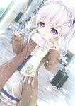 1girl absurdres anchor_symbol apron azur_lane bangs belchan_(azur_lane) belfast_(azur_lane) black_ribbon blue_dress blurry blurry_background blush braid brown_coat coat commentary day depth_of_field dress dutch_angle eyebrows_visible_through_hair frilled_dress frills fringe_trim hair_ribbon hands_up highres long_hair long_sleeves looking_at_viewer maid maid_headdress maru_shion open_clothes open_coat outdoors parted_lips ribbon road scarf sleeves_past_wrists solo street violet_eyes waist_apron white_apron white_hair white_scarf