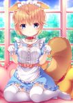 1girl :o animal_ear_fluff animal_ears apron bangs blue_dress blue_eyes blush bow brown_hair collar collared_dress commentary_request copyright_request day dress eyebrows_visible_through_hair frilled_apron frilled_legwear frilled_pillow frills gloves hair_between_eyes hands_up heart heart_pillow highres indoors maid_headdress no_shoes parted_lips pillow puffy_short_sleeves puffy_sleeves red_bow red_collar short_hair short_sleeves sitting solo tail thigh-highs virtual_youtuber waist_apron white_apron white_gloves white_legwear window yokozuwari yuku_(kiollion)