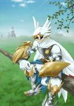 1boy armor belt bird boots bttfghn cape digimon feathered_wings feathers gloves helmet leaf official_art sitting sky solo sunglasses tree valkyrimon wings