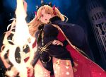 1girl ass_visible_through_thighs bangs black_leotard black_nails blonde_hair bow breasts cage cape earrings ereshkigal_(fate/grand_order) fate/grand_order fate_(series) from_below fur-trimmed_cape fur_trim glowing glowing_weapon hair_bow hand_on_hip highres holding holding_weapon jewelry leotard light_particles long_hair nail_polish open_mouth parted_bangs pink_eyes red_bow red_cape small_breasts solo tassel tiara toromera two_side_up v-shaped_eyebrows very_long_hair weapon
