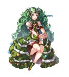 1girl braid christmas_ornaments closed_mouth conope fire_emblem fire_emblem:_three_houses fire_emblem_heroes full_body fur_trim green_eyes green_hair hair_ornament long_hair pointy_ears shoes simple_background smile solo sothis_(fire_emblem) tiara twin_braids twitter_username white_background