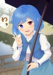 1girl absurdres arm_up blue_eyes blue_hair blue_skirt blue_vest blurry blurry_background bridge commentary_request cowboy_shot day depth_of_field head_tilt heterochromia highres holding holding_umbrella juliet_sleeves kanpa_(campagne_9) leaning_forward long_sleeves open_clothes open_mouth open_vest outdoors puffy_sleeves railing red_eyes river shirt short_hair skirt solo standing tatara_kogasa teeth touhou translated umbrella vest white_shirt wooden_railing
