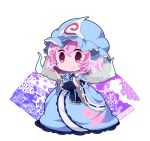 blue_headwear blue_kimono bug butterfly chibi commentary_request floral_print frills full_body goshoguruma hand_up hat hitodama insect japanese_clothes kayama_benio kimono light_blush long_sleeves mob_cap pink_eyes pink_hair saigyouji_yuyuko saigyouji_yuyuko's_fan_design short_hair smile standing touhou triangular_headpiece white_background wide_sleeves