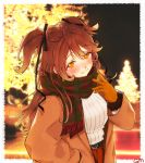 1girl :3 belt black_belt blurry blurry_background blush brown_coat brown_hair christmas christmas_lights closed_mouth coat duffel_coat gloves highres idenshi_kumikae_(kabe_choron) illumination long_hair looking_at_viewer night orange_gloves outdoors re:act red_scarf ribbed_sweater scarf shishigami_leona signature smile solo sweater two_side_up upper_body virtual_youtuber white_sweater yellow_eyes