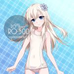 1girl artist_name ass_visible_through_thighs blonde_hair blue_background blue_eyes character_name commentary_request cowboy_shot flat_chest hair_ribbon inaba_shiki kantai_collection long_hair looking_at_viewer plaid plaid_background ribbon school_swimsuit smile solo standing swimsuit u-511_(kantai_collection) white_school_swimsuit white_swimsuit