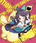 1girl arm_cannon black_legwear black_wings bow brown_hair cape caution chibi commentary_request control_rod eclipse explosion feathered_wings full_body green_bow green_skirt hair_bow hand_up kayama_benio long_hair looking_at_viewer one_eye_closed open_mouth pink_background red_eyes reiuji_utsuho shirt short_sleeves skirt smile solar_eclipse solo starry_sky_print third_eye touhou weapon white_shirt wings