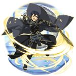 1boy bangs black_cape black_footwear black_hair black_pants blue_eyes boots breastplate cape dual_wielding gauntlets grey_cape hair_between_eyes highres holding holding_sword holding_weapon kirito looking_at_viewer male_focus official_art open_mouth pants shiny shiny_hair shoulder_armor solo spaulders sword sword_art_online transparent_background waist_cape weapon