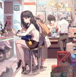 1girl 7-eleven backpack bag black_footwear black_hair black_skirt blue_bag bracelet brown_bag brown_eyes cellphone chinese_commentary convenience_store crossed_legs eating elbow_gloves eyebrows_visible_through_hair from_side gloves ground_vehicle highres holding holding_phone jewelry long_hair motor_vehicle motorcycle office_lady office_lady_taiwan original phone scooter shirt shoes shop sitting skirt smartphone sneakers taiwan tennohi white_bag white_shirt