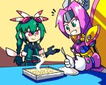 2girls braid braided_ponytail casserole excited face-to-face fork fur_collar gloves goggles goggles_on_head green_eyes green_hair hair_ornament insect_girl jacket knife long_hair mecha_musume messy_hair metamor_mothmenos moth_ears moth_girl moth_wings multiple_girls open_mouth personification pokemon pokemon_(creature) purple_hair red_eyes respirator rockman rockman_x setz smile smirk table wings yanmega