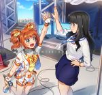 2girls aqua_eyes arm_up black_hair black_skirt blue_eyes blush breasts brown_hair closed_mouth commission crop_top drill_hair eyebrows_visible_through_hair fingerless_gloves gloves holding holding_microphone idolmaster idolmaster_million_live! kamille_(vcx68) lanyard long_hair long_sleeves looking_at_another medium_breasts microphone mogami_shizuka multiple_girls navel open_mouth orange_nails shoes short_hair short_sleeves skirt sleeves_rolled_up smile sneakers sweat takatsuki_yayoi twin_drills watermark white_gloves