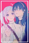 2girls blue_eyes blue_hair blush byleth_(fire_emblem) byleth_(fire_emblem)_(female) edelgard_von_hresvelg fire_emblem fire_emblem:_three_houses garreg_mach_monastery_uniform hairband heart highres long_hair long_sleeves looking_at_another looking_at_viewer multiple_girls side_ponytail smile upper_body v violet_eyes white_hair zimecony