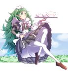 1girl absurdres braid closed_mouth cup fire_emblem fire_emblem:_three_houses full_body green_eyes green_hair gzo1206 highres holding holding_plate long_hair long_sleeves maid maid_headdress plate pointy_ears shoes solo sothis_(fire_emblem) teacup teapot twin_braids white_legwear