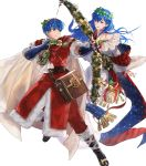 1boy 1girl arrow bag bell blue_eyes blue_hair boots bow bow_(weapon) brother_and_sister cape christmas christmas_ornaments elice_(fire_emblem) fingerless_gloves fire_emblem fire_emblem:_mystery_of_the_emblem fire_emblem_heroes fur_trim gift gloves highres leaf long_hair marth_(fire_emblem) mayo_(becky2006) official_art open_mouth siblings star teeth tiara transparent_background weapon