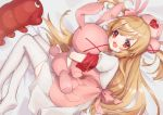 1girl apron bandaged_arm bandages bangs bed_sheet blush bunny_hair_ornament eyebrows_visible_through_hair hair_ornament hat heart holding holding_stuffed_animal light_brown_hair long_hair looking_at_viewer lying miniskirt natori_sana no_shoes nurse_cap on_bed on_side open_mouth pink_apron pink_headwear pleated_skirt puffy_short_sleeves puffy_sleeves red_eyes sana_channel short_sleeves skirt smile solo stuffed_animal stuffed_bunny stuffed_shrimp stuffed_toy thigh-highs two_side_up virtual_youtuber white_skirt zettai_ryouiki zumi_tiri