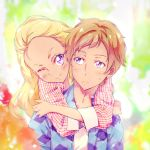 1boy 1girl ;) amamiya_erena amamiya_touma blonde_hair blurry blurry_background blush brother_and_sister brown_hair cardigan commentary_request dark_skin face forehead frown highres hug hug_from_behind kyoutsuugengo long_hair long_sleeves looking_at_another older one_eye_closed open_cardigan open_clothes portrait precure shirt siblings smile star_twinkle_precure sweatdrop upper_body violet_eyes