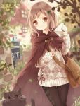 1girl absurdres argyle argyle_legwear argyle_sweater bag bird blurry blurry_background brown_hair cape cat commentary envelope fantasy highres looking_at_viewer original outdoors pantyhose plant red_eyes sweater tukimisou0225