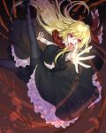 1girl black_legwear black_skirt blonde_hair blood bone bow eyebrows_visible_through_hair floating_hair frilled_bow frilled_skirt frills hair_bow hair_ribbon highres kanta_(pixiv9296614) leaning_back long_hair long_sleeves looking_at_viewer nail_polish open_mouth outstretched_arms red_eyes red_neckwear red_ribbon ribbon rumia skirt touhou