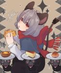 1girl animal_ears black_bow black_jacket black_skirt bow bowtie capelet carrying_overhead cheese closed_eyes food formal from_side grey_hair highres holding holding_food jacket long_sleeves looking_up mouse mouse_ears mouse_tail nazrin open_mouth plate prat_rat red_eyes red_neckwear red_scarf scarf scarf_bow shirt short_hair signature skirt sparkle suit tail tail_bow touhou upper_body white_shirt