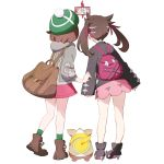 2girls ankle_boots backpack bag bare_legs black_footwear black_jacket boots brown_footwear brown_hair commentary_request dog from_behind full_body gen_8_pokemon green_headwear grey_coat hair_ribbon high_heel_boots high_heels holding holding_phone hood hood_down hooded_coat jacket long_hair long_sleeves mary_(pokemon) multiple_girls nemoto_yuuma phone pink_skirt pokemon pokemon_(creature) pokemon_(game) pokemon_swsh purple_ribbon ribbon rotom_phone self_shot simple_background skirt sleeves_past_wrists standing tam_o'_shanter twintails white_background yamper yuuri_(pokemon)