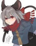 1girl animal_ears black_bow black_skirt black_vest bow capelet diamond-shaped_pupils eyebrows_visible_through_hair grey_hair highres long_sleeves looking_at_viewer mouse_ears mouse_tail nazrin prat_rat red_eyes red_scarf scarf scarf_bow shirt short_hair signature simple_background skirt solo symbol-shaped_pupils tail tail_bow touhou upper_body vest white_background white_shirt
