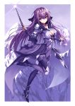 1girl armored_boots bangs bodysuit boots brooch cleavage_cutout covered_nipples fate/grand_order fate_(series) fur_trim hair_between_eyes headpiece heart heirou holding holding_wand jewelry leg_up looking_at_viewer mountain outdoors purple_bodysuit purple_hair red_eyes runes scathach_(fate)_(all) scathach_skadi_(fate/grand_order) smile tiara wand