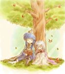 1boy 1girl animal animal_on_head apple bird bird_on_head blue_hair book brother_and_sister cape circlet dress fire_emblem fire_emblem:_genealogy_of_the_holy_war food fruit gloves half-siblings headband julia_(fire_emblem) lavender_hair leaf long_hair on_head red-50869 seliph_(fire_emblem) siblings sleeping sleeping_upright tree under_tree