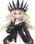 1girl :d black_dress black_rock_shooter blonde_hair chariot_(black_rock_shooter) crown dress hand_on_own_chest highres long_hair looking_at_viewer mechanical_hands messy_hair nyoro_(nyoronyoro000) open_mouth partially_unzipped simple_background smile solo white_background white_dress yellow_eyes