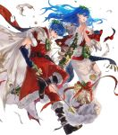 1boy 1girl arrow bag bell blue_eyes blue_hair boots bow bow_(weapon) brother_and_sister cape christmas christmas_ornaments elice_(fire_emblem) fingerless_gloves fire_emblem fire_emblem:_mystery_of_the_emblem fire_emblem_heroes fur_trim gift gloves highres leaf long_hair marth_(fire_emblem) mayo_(becky2006) official_art one_eye_closed open_mouth praying siblings teeth tiara torn_clothes transparent_background weapon