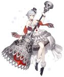 1girl ankle_boots asymmetrical_bangs bangs bare_shoulders bell boots bracelet breasts choker dress eyebrows_visible_through_hair flower frilled_dress frills full_body fur_trim grey_eyes hat high_heel_boots high_heels jewelry ji_no medium_breasts official_art rose scarf sinoalice snow_white_(sinoalice) snowflakes solo top_hat transparent_background white_dress white_hair