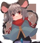 1girl animal_ears black_bow black_skirt black_vest blush bow brown_background capelet diamond-shaped_pupils eyebrows_visible_through_hair grey_hair highres long_sleeves looking_at_viewer mouse_ears mouse_tail nazrin prat_rat red_eyes red_scarf scarf scarf_bow shirt short_hair signature skirt solo symbol-shaped_pupils tail tail_bow touhou upper_body vest white_shirt