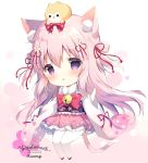 1girl :o animal animal_ear_fluff animal_ears animal_on_head artist_name azur_lane bangs bell blush bow cat_ears cat_girl cat_tail character_name chibi commentary_request dog eyebrows_visible_through_hair flower frilled_skirt frills full_body hair_between_eyes hair_flower hair_ornament hair_ribbon japanese_clothes jingle_bell kimono kisaragi_(azur_lane) long_hair long_sleeves obi on_head pantyhose parted_lips pink_bow pink_hair pink_skirt red_ribbon ribbon sash shiratama_(shiratamaco) skirt solo tail two_side_up very_long_hair violet_eyes white_flower white_kimono white_legwear wide_sleeves