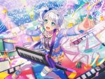 bang_dream! blush dress green_eyes grey_hair keyboard_(instrument) short_hair smile wakamiya_eve