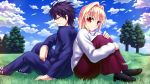 1boy 1girl ahoge arcueid_brunestud black_hair black_legwear blonde_hair breasts clouds cloudy_sky commentary couple egnis glasses grass hair_intakes highres leaf long_skirt long_sleeves pantyhose purple_skirt red_eyes school_uniform short_hair skirt sky smile sweater toono_shiki tree tsukihime tukihimegoto turtleneck