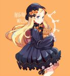 1girl abigail_williams_(fate/grand_order) bangs black_bow black_dress black_headwear blush bow character_name coll_(erichankun) commentary_request dress fate/grand_order fate_(series) long_hair looking_at_viewer multiple_bows object_hug orange_background orange_bow parted_bangs polka_dot polka_dot_bow simple_background sleeves_past_fingers sleeves_past_wrists solo stuffed_animal stuffed_toy teddy_bear