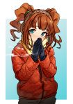 1girl absurdres aqua_eyes blush breath brown_hair coat cowboy_shot earmuffs eyebrows_visible_through_hair gloves hair_bobbles hair_ornament hands_together highres idolmaster idolmaster_(classic) jacket kakaobataa long_hair looking_at_viewer open_mouth own_hands_together pants scarf sidelocks solo takatsuki_yayoi twintails two-tone_background winter_clothes winter_coat