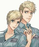 1boy 1girl ace_combat ace_combat_7 blonde_hair brother_and_sister collarbone elke_van_dalsen eyebrow_piercing green_eyes highres holding_hands looking_at_another looking_at_viewer mouth_piercing otto_van_dalsen parted_lips patch piercing pilot pilot_suit short_hair siblings takato15_c