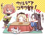 3girls :d bangs black_hair black_legwear black_ribbon black_shirt black_skirt blonde_hair blush brown_eyes brown_hair checkered closed_eyes commentary_request creature ereshkigal_(fate/grand_order) eyebrows_visible_through_hair fate/grand_order fate_(series) food fou_(fate/grand_order) fruit fujimaru_ritsuka_(female) hair_between_eyes hair_ribbon highres ishtar_(fate/grand_order) jako_(jakoo21) kotatsu long_hair long_sleeves mandarin_orange multiple_girls notice_lines one_side_up open_clothes open_mouth oven_mitts pleated_skirt profile red_eyes red_ribbon ribbon shirt skirt slippers smile table tiara translation_request two_side_up very_long_hair walking wide_sleeves yellow_footwear