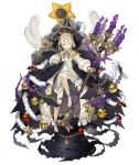 1girl barefoot blonde_hair bow briar_rose_(sinoalice) candlestand capelet christmas_ornaments expressionless frills full_body half-closed_eyes ji_no looking_at_viewer official_art one_eye_closed short_hair sinoalice solo thorns transparent_background yellow_eyes