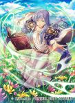 1girl blue_sky book company_name copyright_name day dress field fire_emblem fire_emblem:_genealogy_of_the_holy_war fire_emblem_cipher flower flower_field full_body julia_(fire_emblem) long_hair long_sleeves nagahama_megumi official_art open_book outdoors parted_lips purple_hair sky solo violet_eyes wide_sleeves