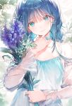 1girl aqua_eyes baby's-breath bangs bare_shoulders blue_hair bouquet braid breasts closed_mouth detached_sleeves dsmile earrings flower hair_strand head_tilt holding holding_flower jewelry light_smile long_hair looking_at_viewer original purple_flower see-through see-through_sleeves solo strap_gap twin_braids twintails upper_body white_flower