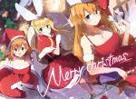 3girls animal_ears belt blonde_hair blue_eyes bottle breasts brown_hair capelet champagne_bottle champagne_flute christmas closed_mouth cup dress drinking_glass green_eyes hat holding holding_bottle holding_sack large_breasts looking_at_viewer medium_breasts merry_christmas mittens mononobe_alice multiple_girls nekopote nijisanji otogibara_era rabbit_ears red_dress red_skirt sack santa_hat skirt upper_body virtual_youtuber warabeda_meijii white_mittens
