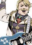 1boy blonde_hair cravat eyelashes facial_hair fat fat_man fate/grand_order fate_(series) goldorf_musik guitar instrument male_focus miwa_shirou mustache solo