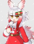 1girl aticotta blush christmas dress hair_ornament highres japanese_crested_ibis_(kemono_friends) kemono_friends kemono_friends_3 long_sleeves multicolored_hair open_mouth red_dress ribbon santa_costume short_hair smile snow snowing solo white_hair yellow_eyes