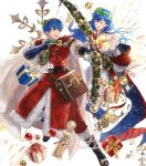1boy 1girl arrow bag bell blue_eyes blue_hair boots bow bow_(weapon) brother_and_sister cape christmas christmas_ornaments closed_eyes earrings elice_(fire_emblem) fingerless_gloves fire_emblem fire_emblem:_mystery_of_the_emblem fire_emblem_heroes fur_trim gift gloves highres jewelry leaf long_hair marth_(fire_emblem) mayo_(becky2006) official_art open_mouth siblings sparkle teeth tiara transparent_background weapon