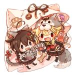 2girls :d ahoge animal_ears black_legwear black_ribbon black_serafuku black_skirt blonde_hair blue_eyes bone braid brown_hair candy cat_ears cat_tail chibi fang food gloves hair_flaps hair_ornament hair_ribbon hairclip halloween_costume kantai_collection kazuhito_(1245ss) long_hair multiple_girls neckerchief no_shoes open_mouth paw_gloves paws pleated_skirt red_eyes red_neckwear remodel_(kantai_collection) ribbon school_uniform serafuku shigure_(kantai_collection) skirt smile tail wolf_tail yuudachi_(kantai_collection)