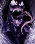 1boy long_tongue male_focus marvel mask miwa_shirou open_mouth portrait saliva sharp_teeth solo symbiote teeth tongue venom_(marvel)