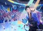 2boys ;d artist_name banner black_hair blue_eyes blue_flower blue_rose bouquet brown_eyes collared_shirt confetti crowd english_text epaulettes flower gearous hair_slicked_back hug hug_from_behind katsuki_yuuri male_focus multiple_boys one_eye_closed open_mouth rose shirt silver_hair skating_rink smile sparkle viktor_nikiforov yuri!!!_on_ice